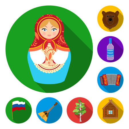 Country Russia, travel flat icons in set collection for design. Attractions and features vector symbol stock web illustration. Banco de Imagens