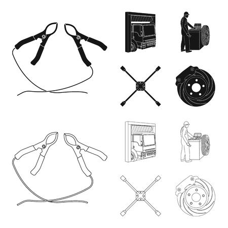 Wheel balancing, spanner and brake disc black,outline icons in set collection for design.Car maintenance station vector symbol stock illustration web. Ilustração