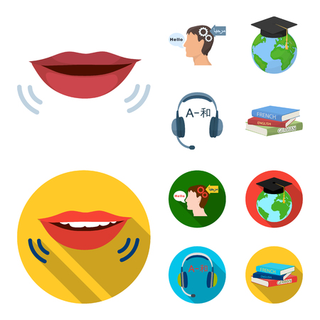 The mouth of the person speaking, the person head translating the text, the globe with the master cap, the headphones with the translation. Interpreter and translator set collection icons in cartoon,flat style vector symbol stock illustration .