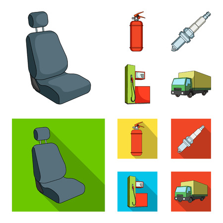 Chair with headrest, fire extinguisher, car candle, petrol station, Car set collection icons in cartoon,flat style vector symbol stock illustration web. 向量圖像