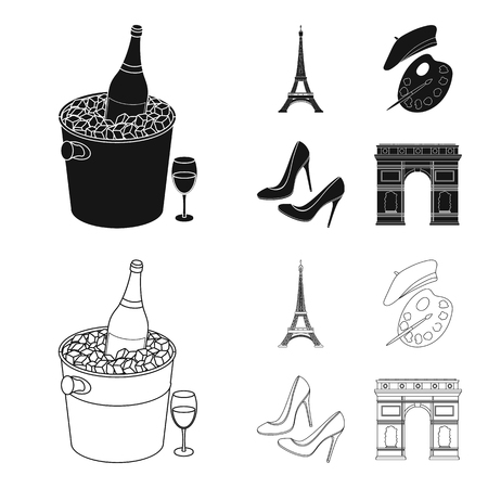 Eiffel tower, brush, hat .France country set collection icons in black,outline style vector symbol stock illustration web.