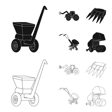 Motoblock and other agricultural devices. Agricultural machinery set collection icons in black,outline style vector symbol stock illustration web.