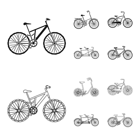 Children bicycle, a double tandem and other types.Different bicycles set collection icons in black,outline style vector symbol stock illustration web.