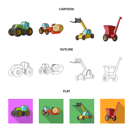 Tractor, hay balancer and other agricultural devices. Agricultural machinery set collection icons in cartoon,outline,flat style vector symbol stock illustration web.
