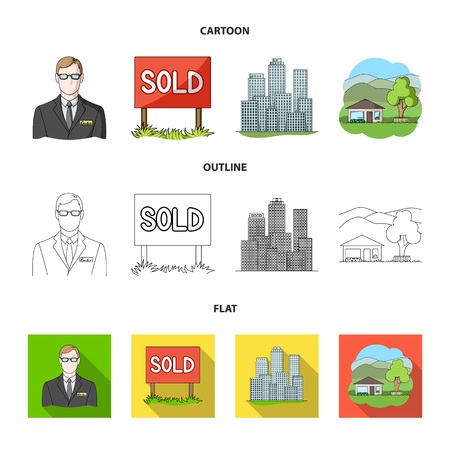 Employee of the agency, sold, metropolis, country house. Realtor set collection icons in cartoon,outline,flat style vector symbol stock illustration web.