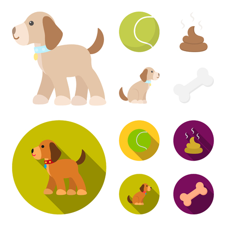 Dog sitting, dog standing, tennis ball, feces. Dog set collection icons in cartoon,flat style vector symbol stock illustration . Illustration