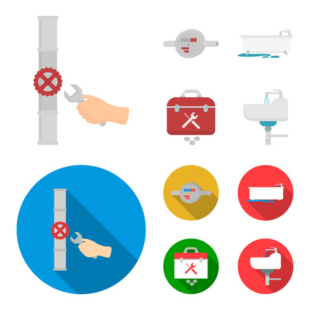 Water meter, bath and other equipment.Plumbing set collection icons in cartoon,flat style vector symbol stock illustration .