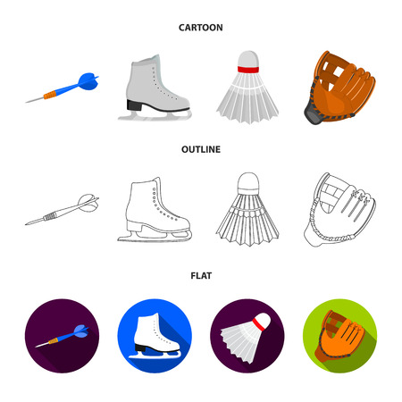 Darts darts, white skate skates, badminton shuttlecock, glove for the game.Sport set collection icons in cartoon,outline,flat style vector symbol stock illustration web.