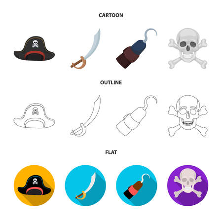 Pirate, bandit, cap, hook .Pirates set collection icons in cartoon,outline,flat style vector symbol stock illustration web.