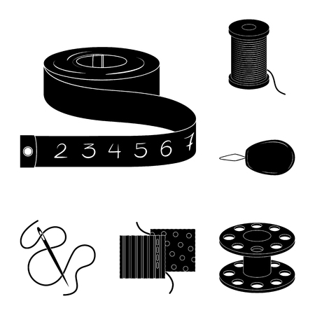 Sewing, atelier black icons in set collection for design. Tool kit vector symbol stock web illustration.