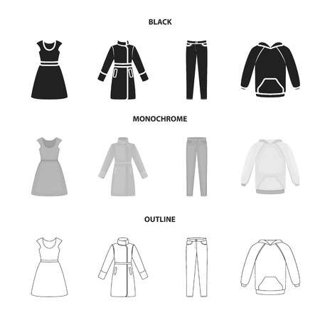Dress with short sleeves, trousers, coats, raglan.Clothing set collection icons in black,monochrome,outline style vector symbol stock illustration web.