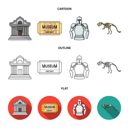 Picture, sarcophagus of the pharaoh, walkie-talkie, crown. Museum set collection icons in cartoon,outline,flat style vector symbol stock illustration web. Stock Photo