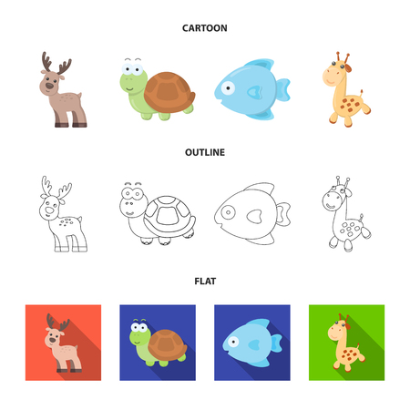 An unrealistic cartoon,outline,flat animal icons in set collection for design. Toy animals vector symbol stock  illustration. 矢量图像
