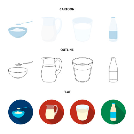 Bowl of cottage cheese, a glass, a bottle of kefir, a jug. Moloko set collection icons in cartoon,outline,flat style vector symbol stock illustration .