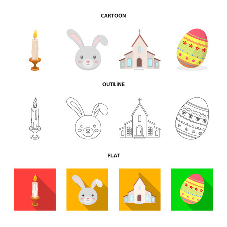 Church, candle, easter bunny and painted egg.Easter set collection icons in cartoon,outline,flat style vector symbol stock illustration .