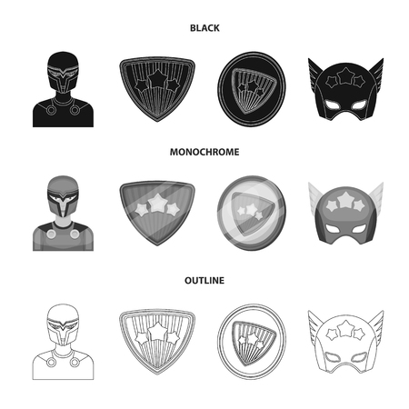 Man, mask, cloak, and other  icon in black,monochrome,outline style.Costume, superforce icons in set collection