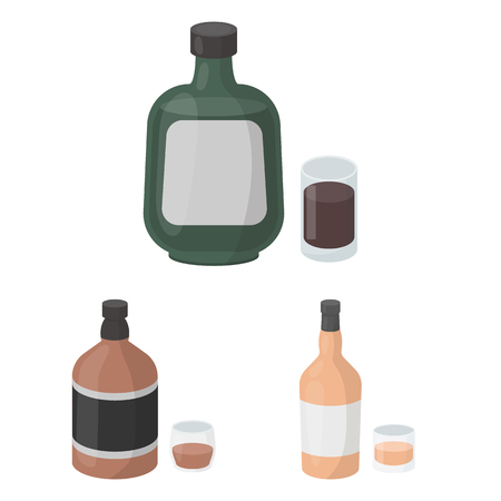 Types of alcohol cartoon icons in set collection for design. Alcohol in bottles vector symbol stock  illustration. Stock Illustratie