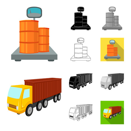 Logistics and delivery cartoon,black,flat,monochrome,outline icons in set collection for design. Transport and equipment isometric vector symbol stock  illustration.