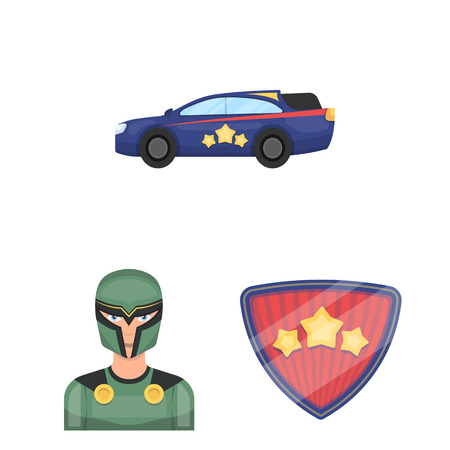 A fantastic superhero cartoon icons in set collection for design. Superhero equipment vector symbol stock illustration.