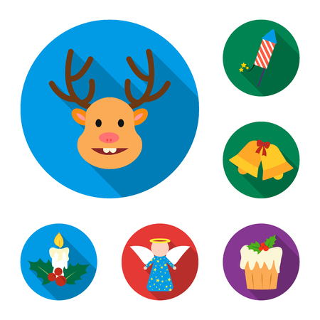 Christmas attributes and accessories flat icons in set collection for design. Merry Christmas vector symbol stock web illustration.