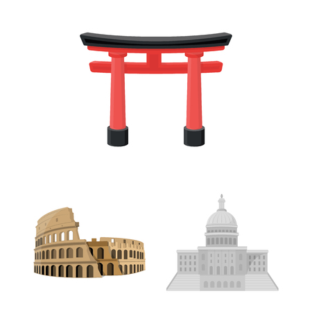 Sights of different countries cartoon icons in set collection for design. Famous building vector symbol stock web illustration. Illustration