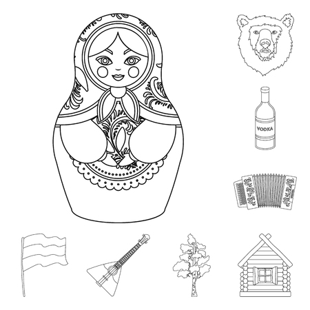 Country Russia, travel outline icons in set collection for design. Attractions and features vector symbol stock web illustration.