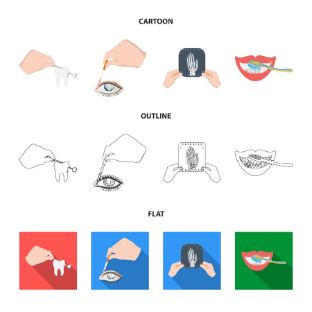 Examination of the tooth, instillation of the eye and other web icon in cartoon,outline,flat style. A snapshot of the hand, teeth cleaning icons in set collection.