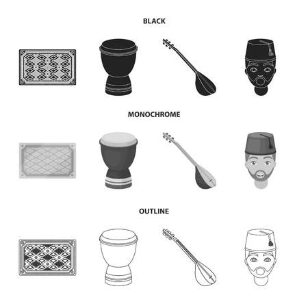 Turkish carpet, saz, drum, turkish men.Turkey set collection icons in black,monochrome,outline style vector symbol stock illustration web.