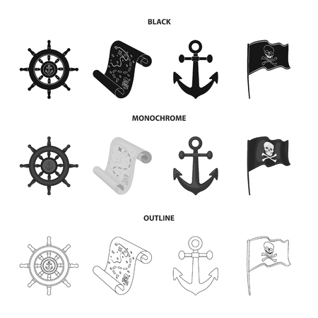 Pirate, bandit, rudder, flag .Pirates set collection icons in black,monochrome,outline style symbol stock illustration web. Çizim