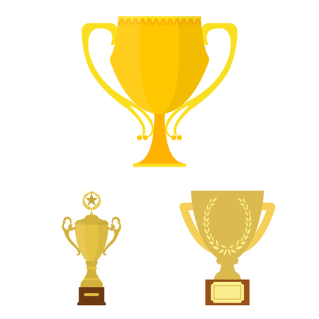 Gold Cup cartoon icons in set collection for design. Winners Cup symbol stock web illustration.