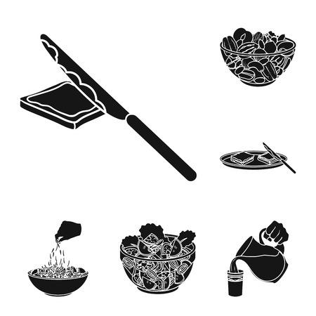 Dessert fragrant black icons in set collection for design. Food and sweetness symbol stock web illustration.