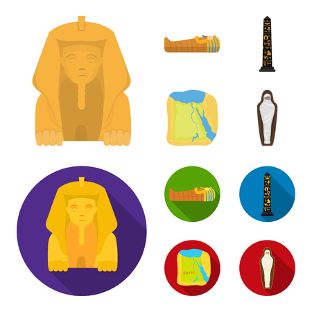 The territory of Egypt, the Sphinx, the pharaoh sarcophagus, the Egyptian pillar with the inscription.Ancient Egypt set collection icons in cartoon,flat style symbol stock illustration web.