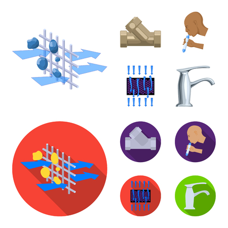System, balloon, hand, trial .Water filtration system set collection icons in cartoon,flat style symbol stock illustration web. Illustration