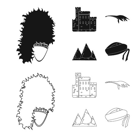 Edinburgh Castle, Loch Ness Monster, Grampian Mountains, national cap balmoral,tam shanter. Scotland set collection icons in black,outline style symbol stock illustration web. Çizim
