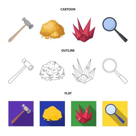 A jeweler hammer, a magnifier, a copper ore, a crystal. Precious minerals and a jeweler set collection icons in cartoon,outline,flat style symbol stock illustration web.