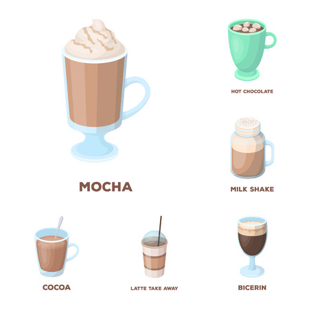 Different kinds of coffee cartoon icons in set collection for design. Coffee drink symbol stock web illustration.