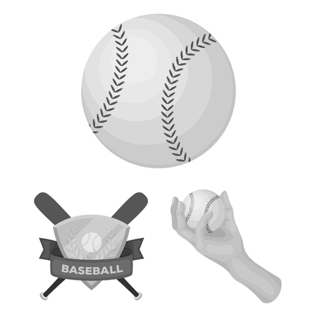 Baseball and attributes monochrome icons in set collection for design.Baseball player and equipment vector symbol stock web illustration.