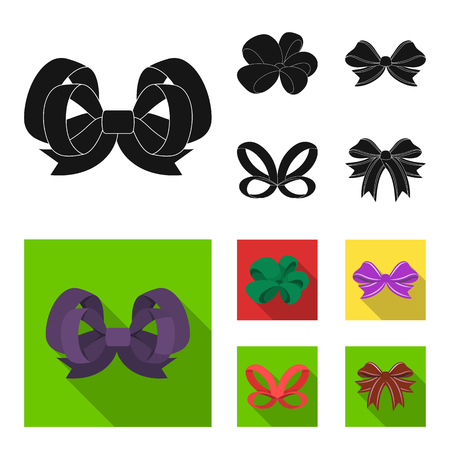 Ornamentals, frippery, finery and other web icon in black, flat style.Bow, ribbon, decoration, icons in set collection.