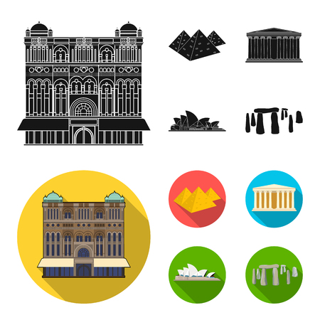 Sights of different countries black, flat icons in set collection for design. Famous building vector symbol stock web illustration. 일러스트