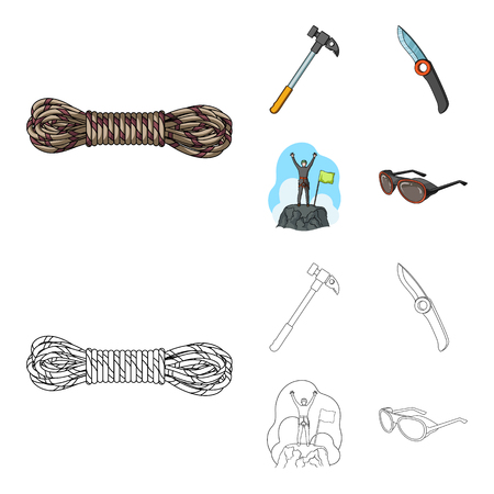 Climber on conquered top, coil of rope, knife, hammer.Mountaineering set collection icons in cartoon,outline style vector symbol stock illustration web. Reklamní fotografie - 104812145