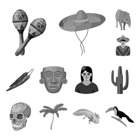 Country Mexico monochrome icons in set collection for design. Mexico and landmark vector symbol stock web illustration. Illustration
