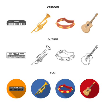 Electro organ, trumpet, tambourine, string guitar. Musical instruments set collection icons in cartoon,outline,flat style vector symbol stock illustration web.