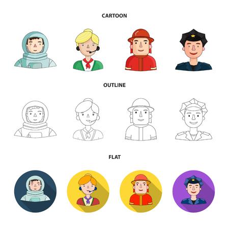 Un astronauta con traje espacial, un compañero de trabajo con micrófono, un bombero con casco, un policía con una placa en la gorra. Personas de diferentes profesiones configurar los iconos de la colección en dibujos animados, contorno, estilo plano símbolo ilustración vectorial de stock.