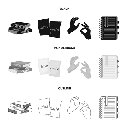 A pile of books in different languages, sheets of paper with translation, a gesture of deaf mutes, a notebook with text. Interpreter and translator set collection icons in black,monochrome,outline style vector symbol stock illustration . Stock Illustratie