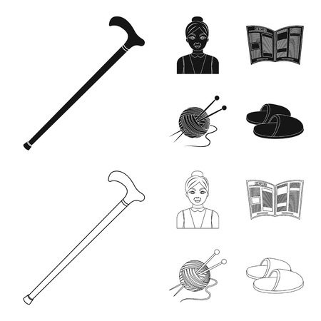 An elderly woman, slippers, a newspaper, knitting.Old age set collection icons in black,outline style vector symbol stock illustration .