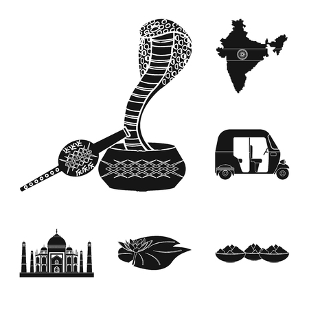 Country India black icons in set collection for design.India and landmark vector symbol stock  illustration.