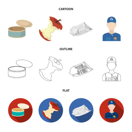 Can used used pot, apple stub, old dirty and wrinkled newspaper, the man who takes out the garbage.Garbage and trash set collection icons in cartoon,outline,flat style vector symbol stock illustration .