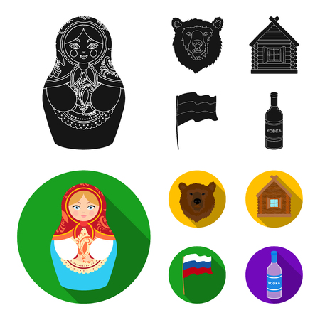 Russia, country, nation, matryoshka .Russia country set collection icons in black, flat style vector symbol stock illustration . Stockfoto