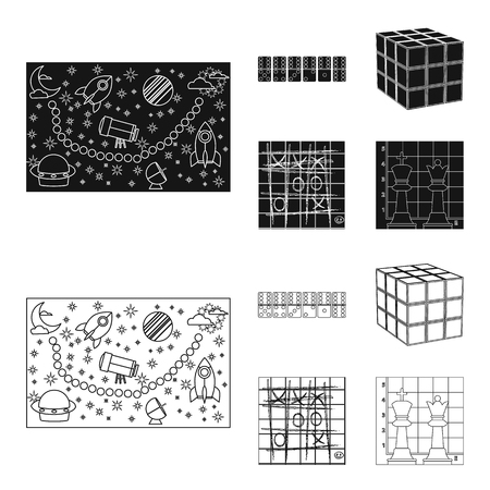 Board game black,outline icons in set collection for design. Game and entertainment vector symbol stock  illustration. Çizim