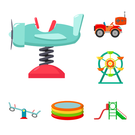 Playground, entertainment cartoon icons in set collection for design. Attraction and equipment vector symbol stock  illustration. Foto de archivo - 104849239
